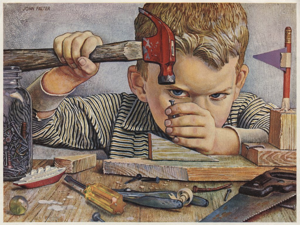 Detail of Determined looking boy hammering nail by Corbis