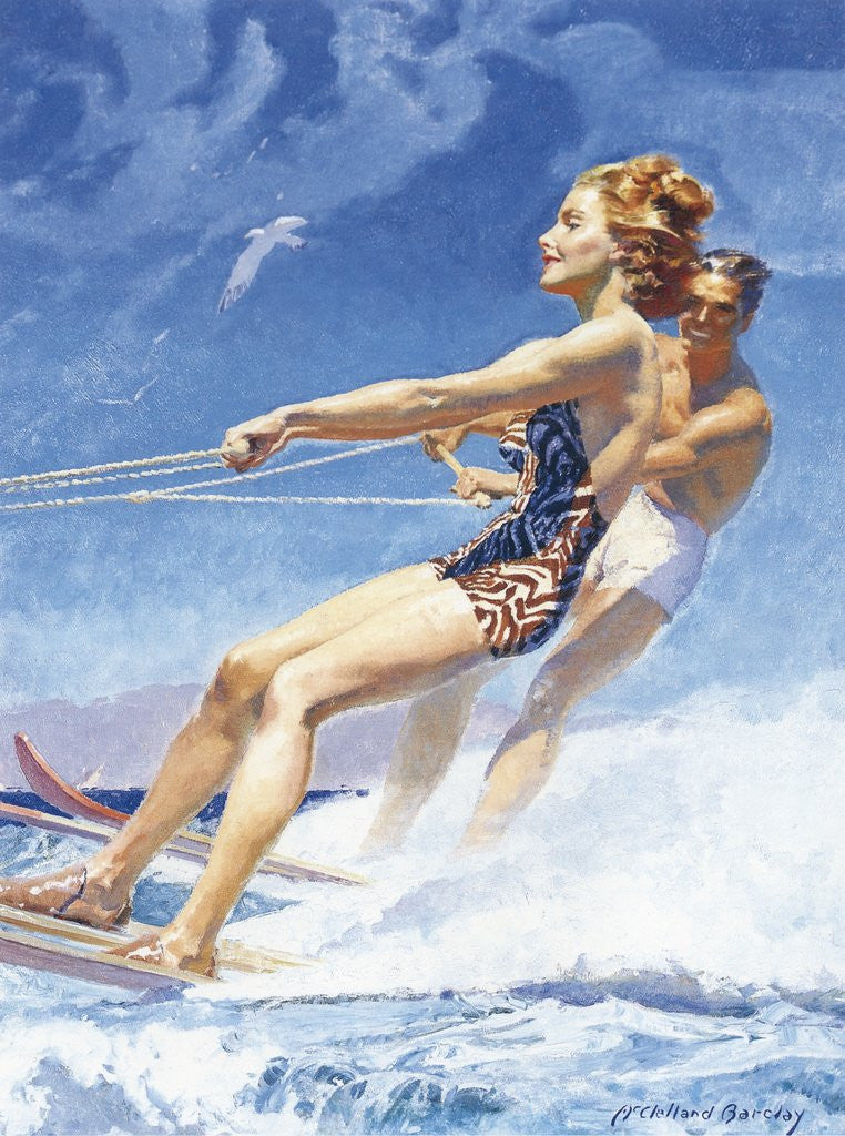 Detail of Man and woman watersking by Corbis
