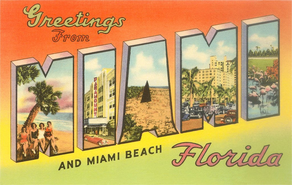 Detail of Greetings from Miami and Miami Beach, Florida by Corbis