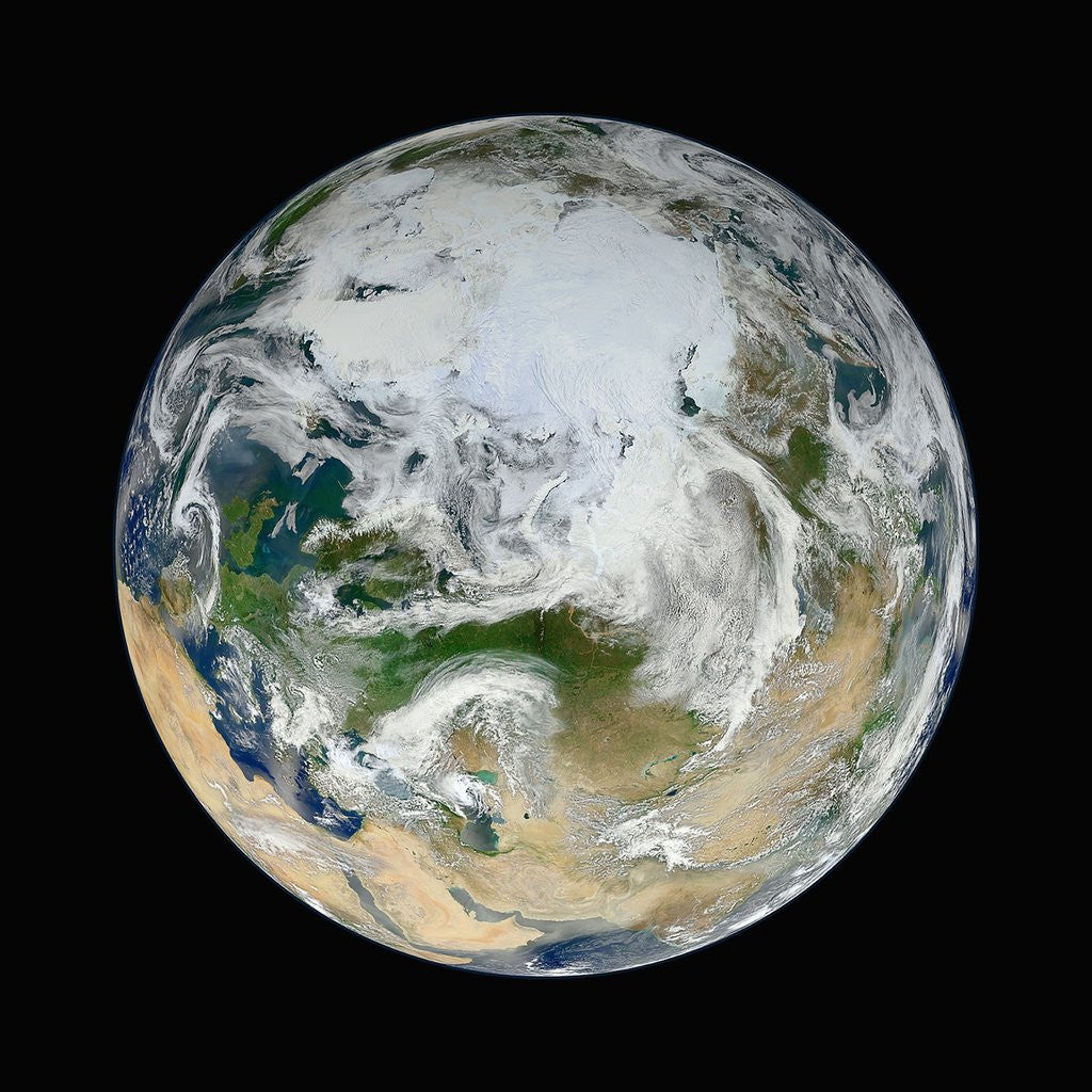 Detail of Composite Satellite View of Earth from the North Pole by Corbis