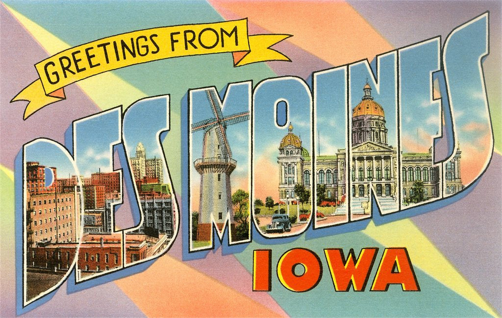 Detail of Greetings from Des Moines, Iowa by Corbis