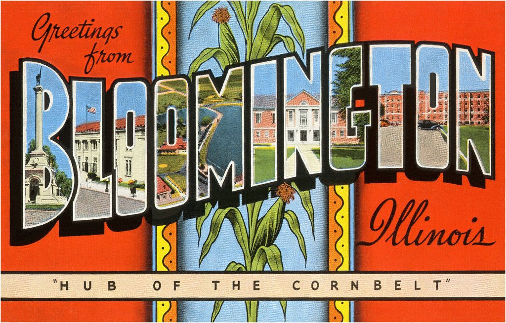 Detail of Greetings from Bloomington, Illinois, Hub of the Corn Belt by Corbis