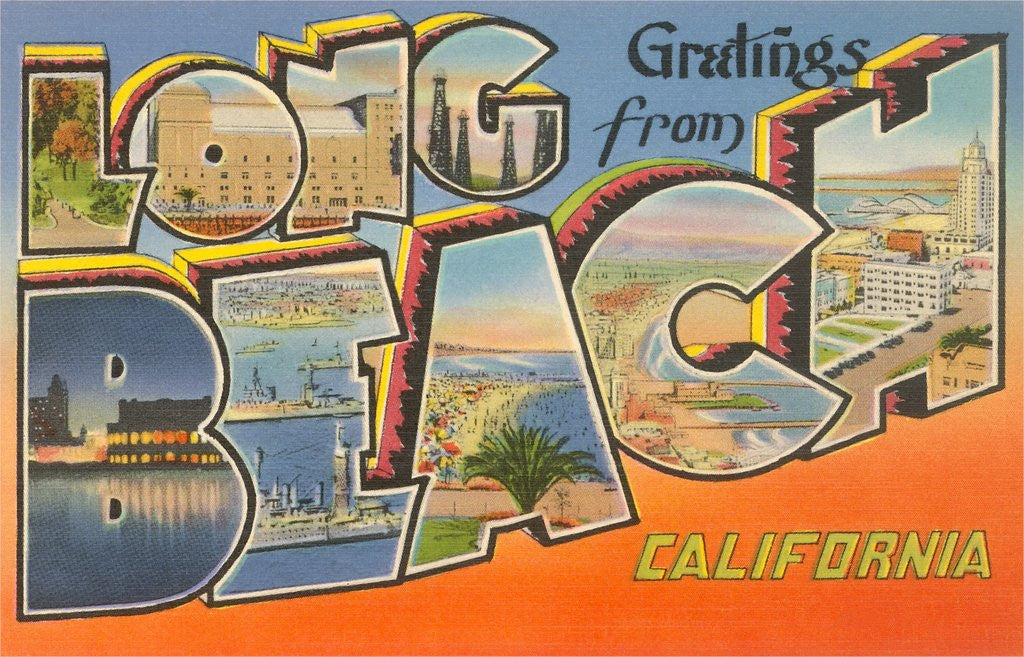 Detail of Greetings from Long Beach, California by Corbis