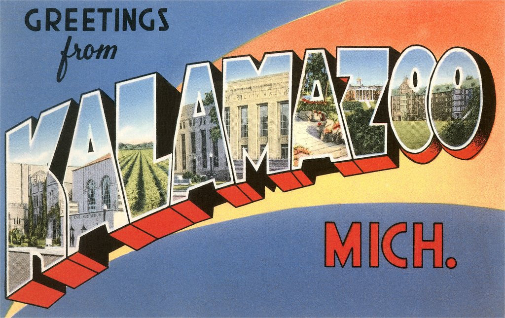 Detail of Greetings from Kalamazoo, Michigan by Corbis