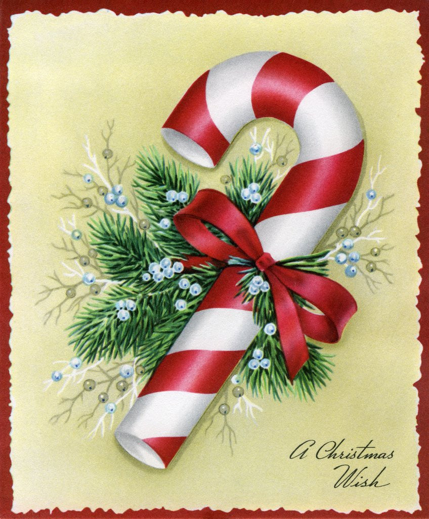 Detail of Vintage Illustration of Christmas Candy Cane by Corbis