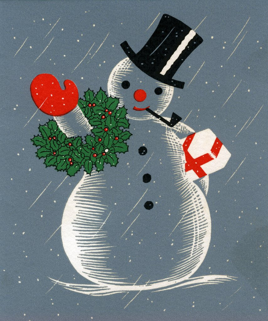 Detail of Vintage Illustration of Christmas Snowman by Corbis