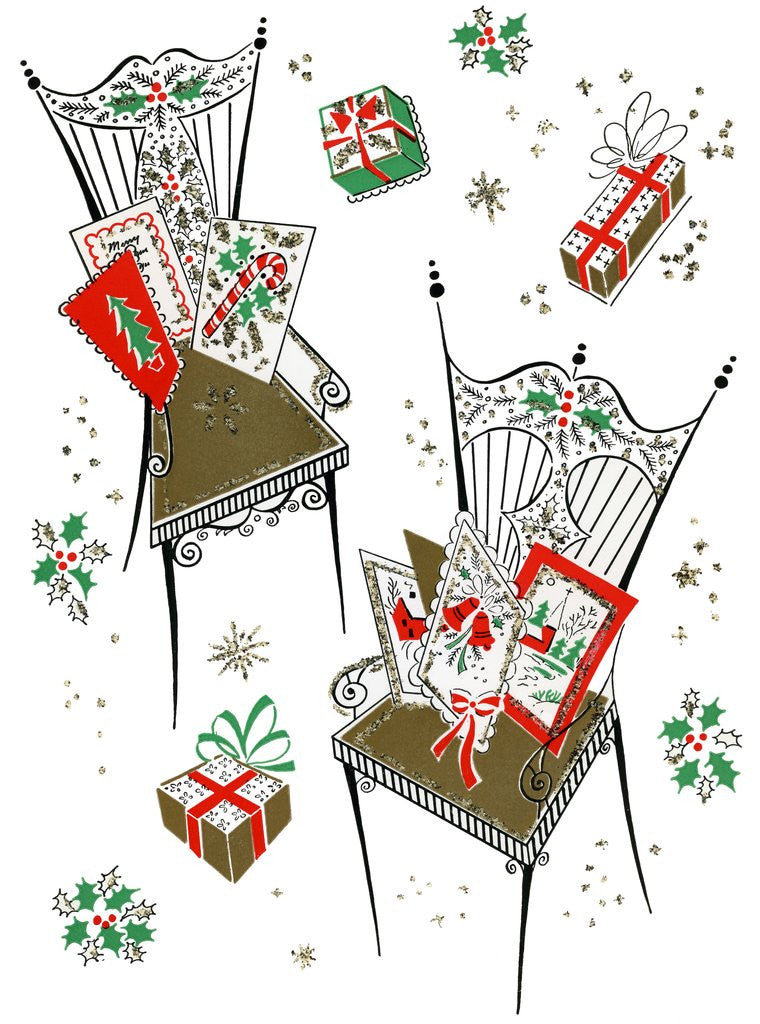 Detail of Vintage Illustration of Chairs with Christmas Cards and Gifts by Corbis