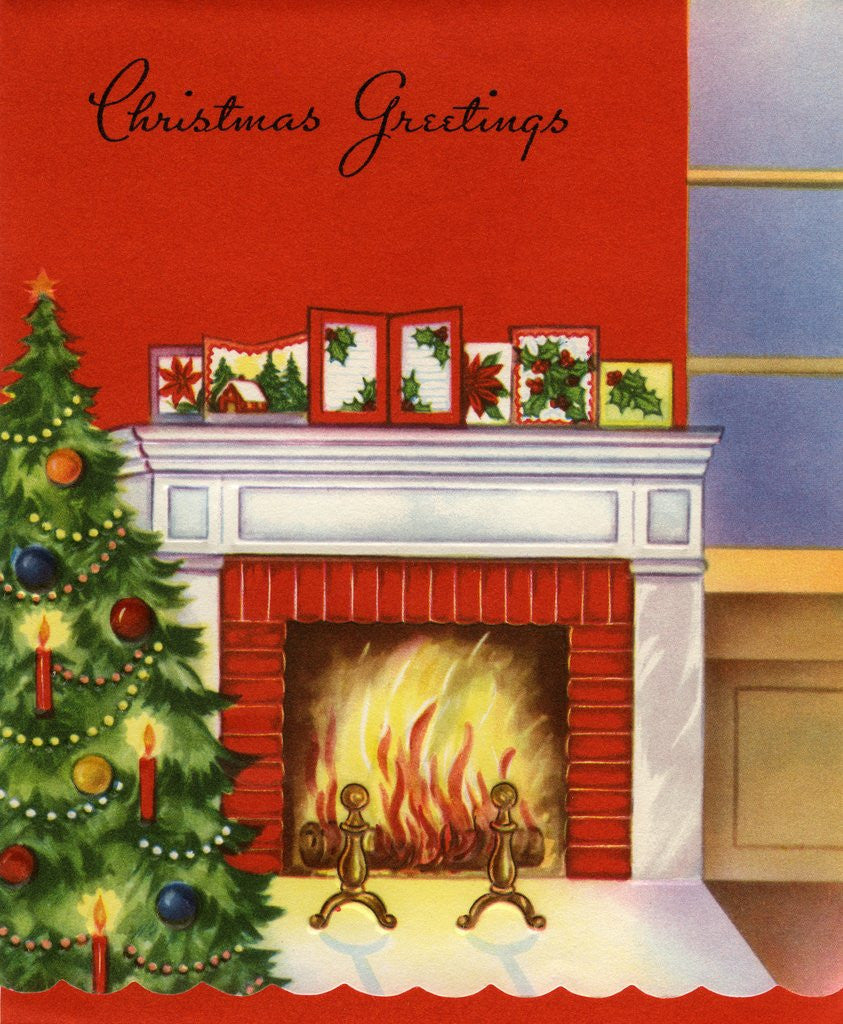 Fireplace Christmas.Vintage Illustration Of Christmas Tree By Fireplace