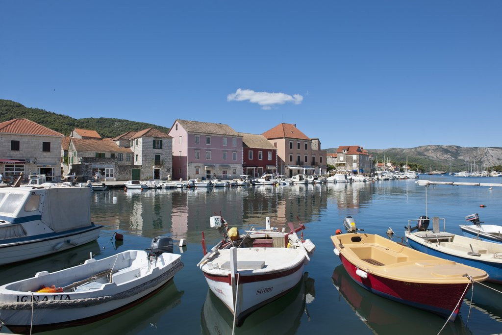 Detail of Boats in harbor, Stari Grad, Hvar Island, Croatia by Corbis