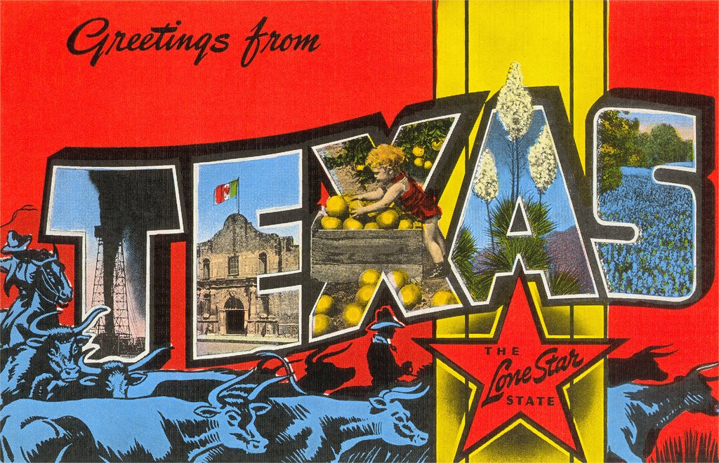 Detail of Greetings from Texas, the Lone Star State by Corbis