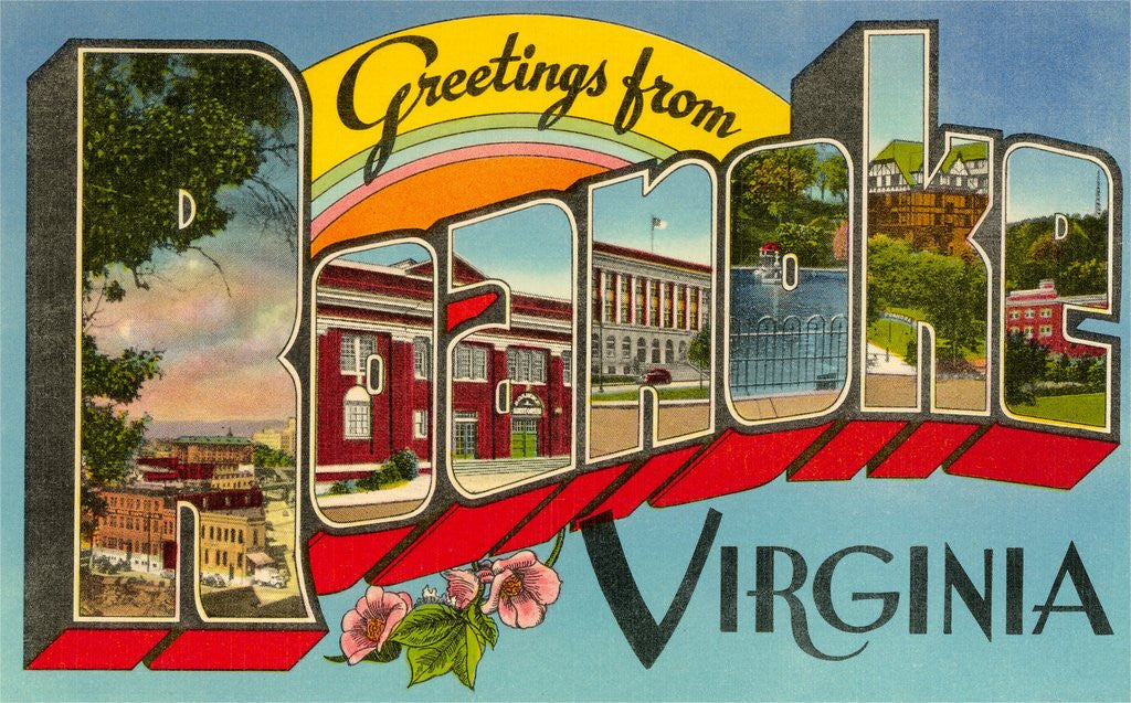 Detail of Greetings from Roanoke, Virginia by Corbis