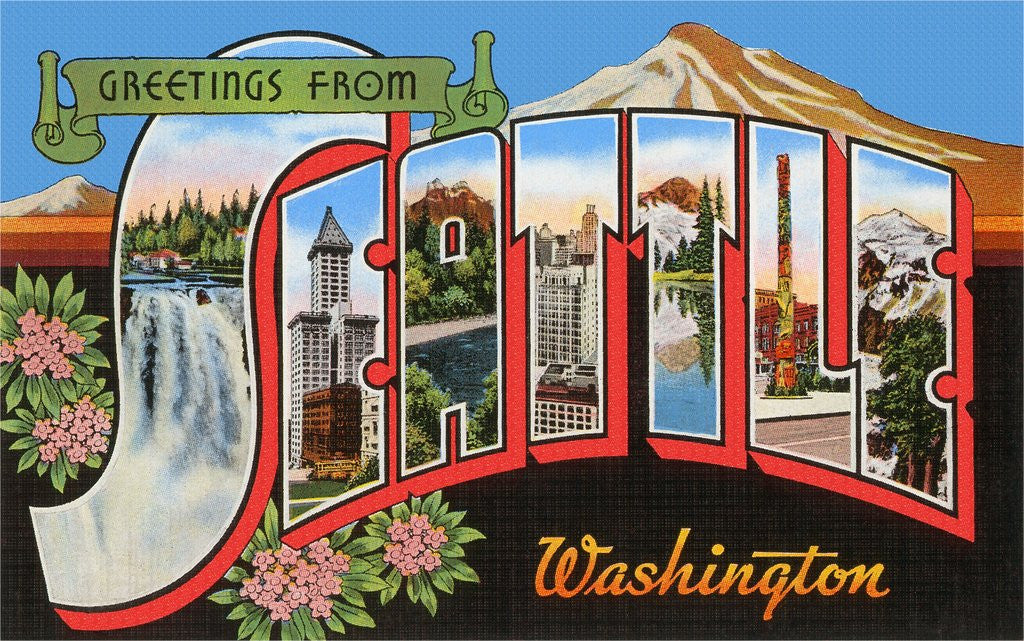Detail of Greetings from Seattle, Washington by Corbis