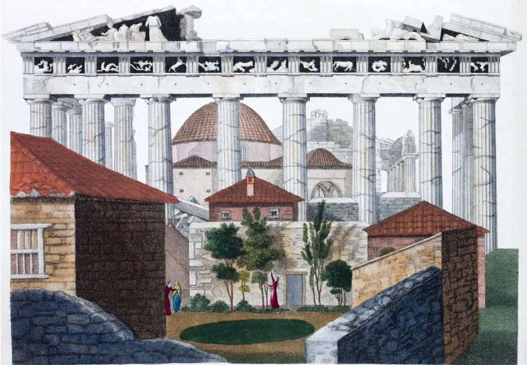 Detail of Hand coloured print of the Parthenon in Athens in the days of the Ottoman Empire by Corbis