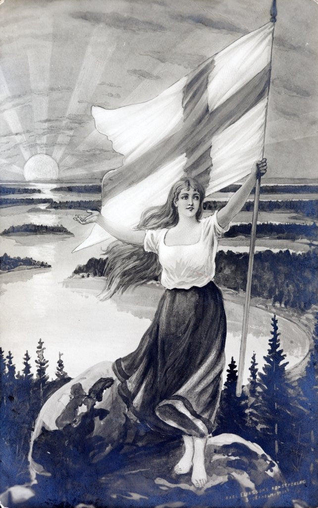 Detail of Patriotic Finnish maiden holding the raised flag of Finland by Corbis
