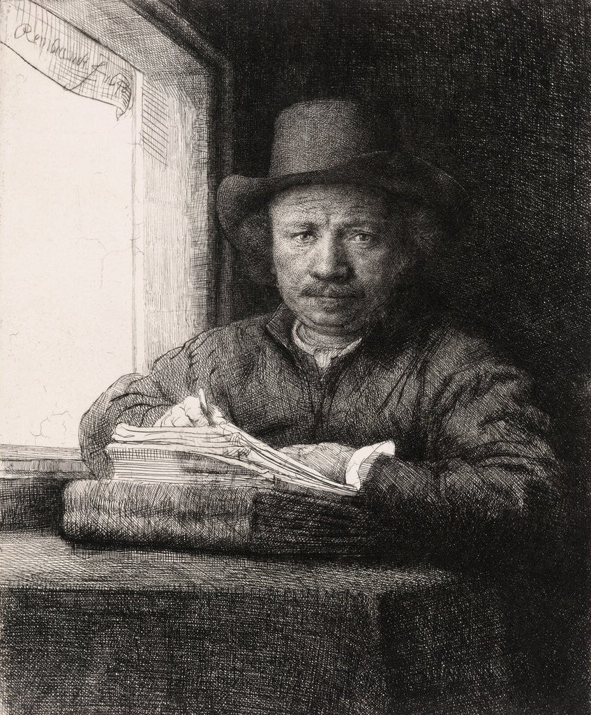 Detail of Self Portrait Drawing at a Window by Rembrandt van Rijn