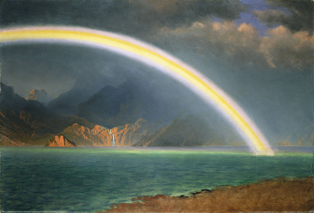 Detail of Rainbow Over Jenny Lake, Wyoming by Albert Bierstadt
