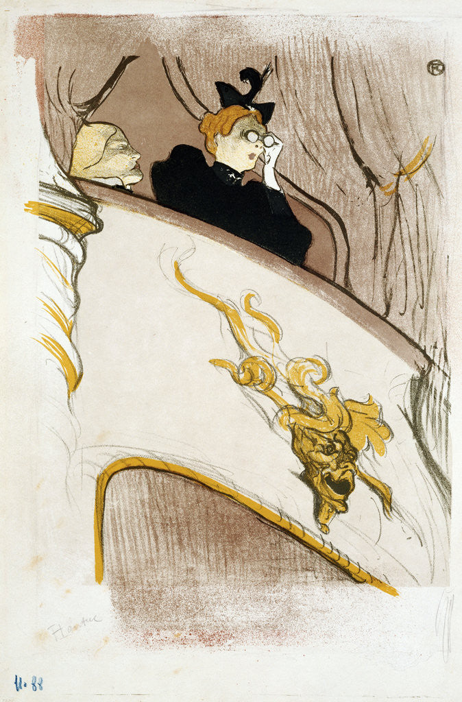Detail of The Box at the Mascaron Dore by Henri de Toulouse-Lautrec