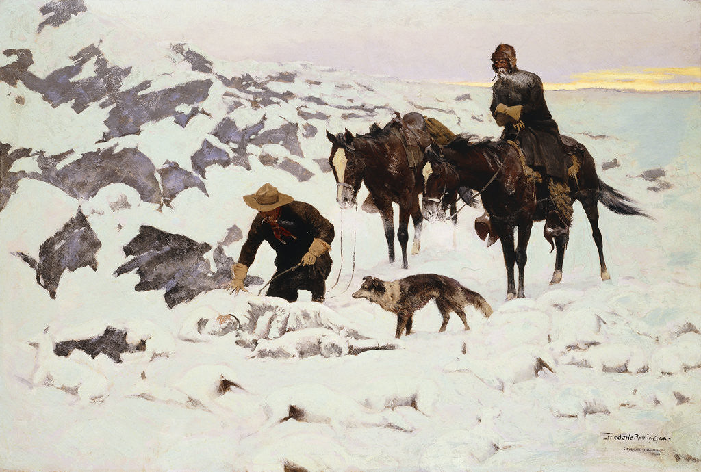 Detail of The Frozen Sheepherder by Frederic Remington