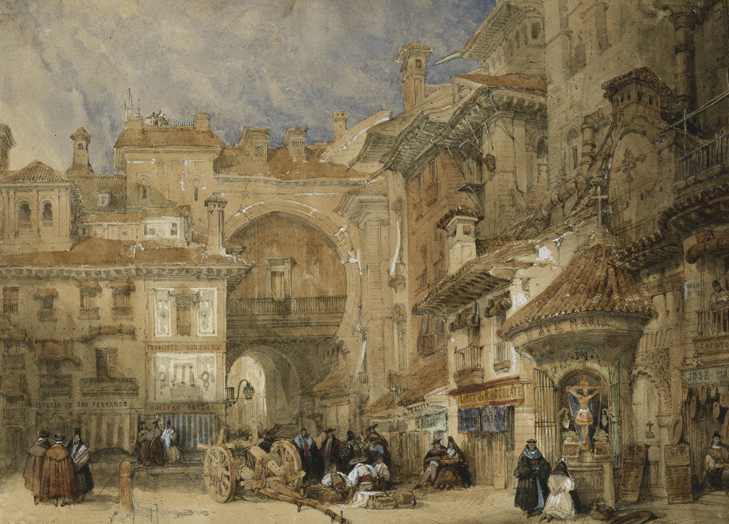 Detail of The Gate of the Viva Rambla, Granada by David Roberts