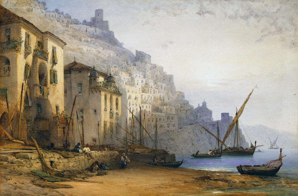 Detail of Amalfi from the Shore - A Summer's Morning by William Callow