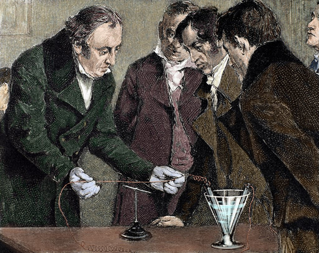 Detail of Oersted, Hans Christian (1777-1851). Danish physicist and chemist. Oersted discovers electromagnet by Corbis