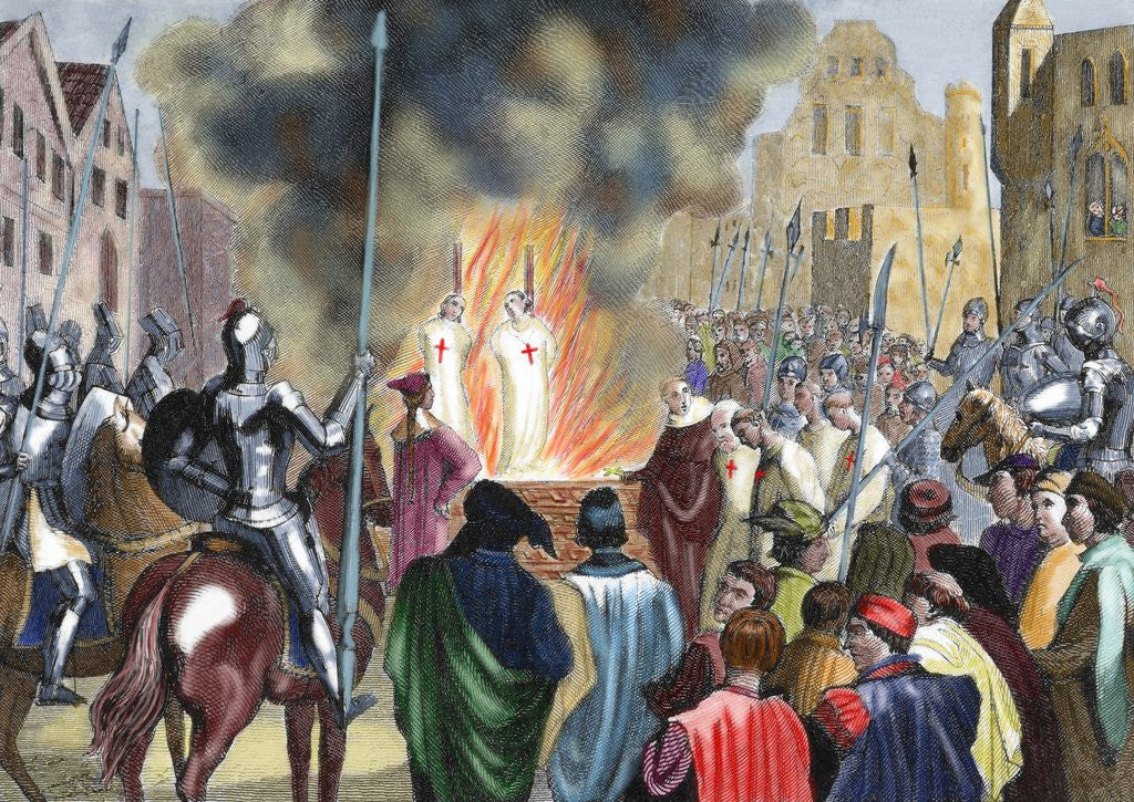 Detail of Burning Templar in the 14th century by Corbis