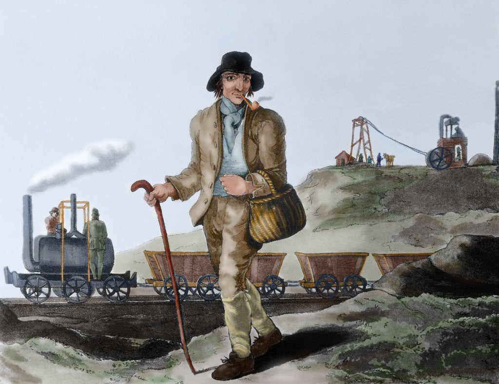 Detail of English miner and transport of coal mined by Corbis