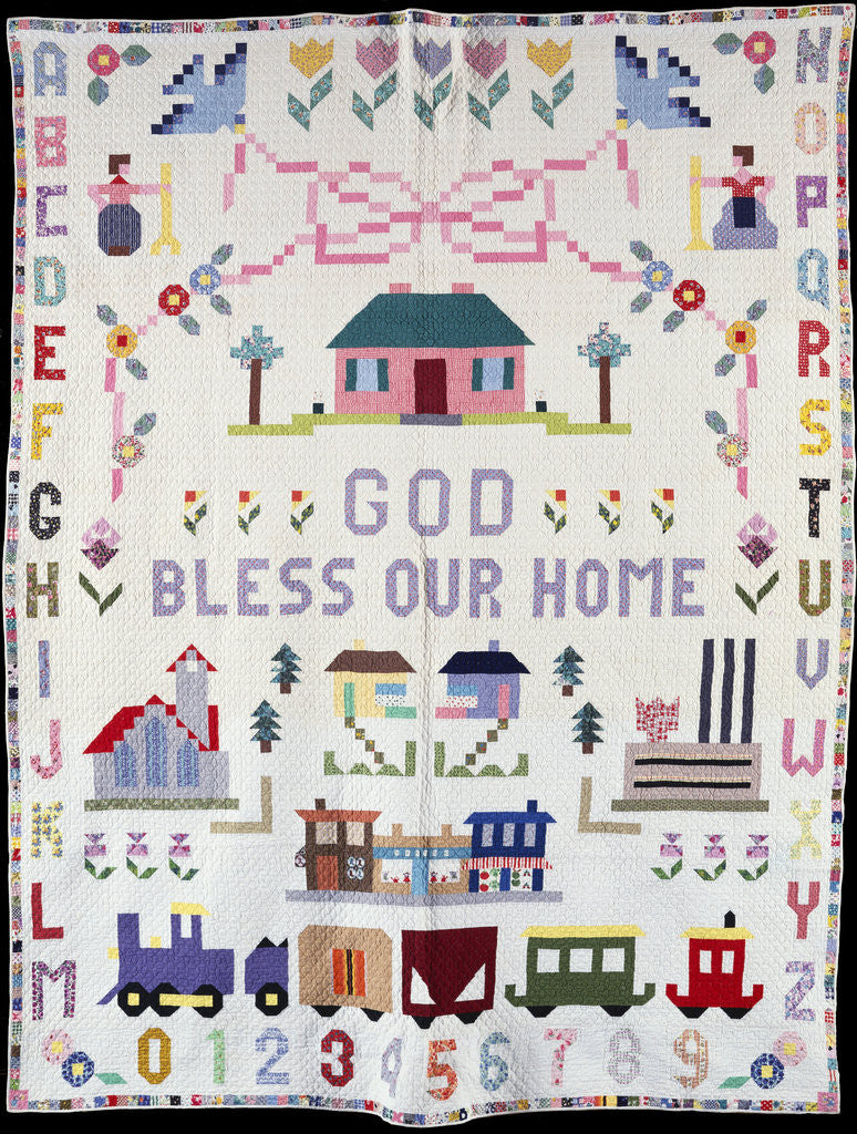 Detail of A pieced and appliqued pictorial cotton quilted coverlet depicting Clifton, Ohio by Corbis