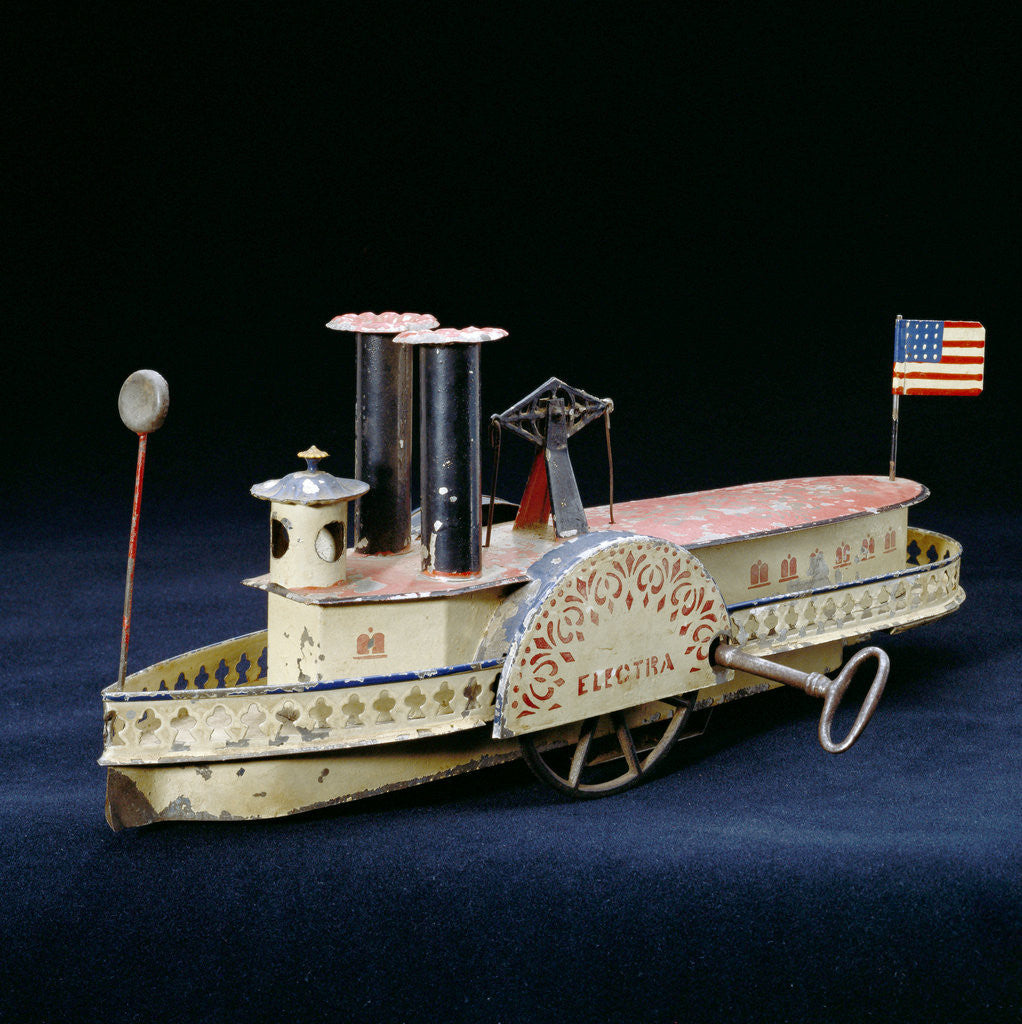 Detail of A rare Electra American clock-work, tinplate paddlewheel river boat, circa 1860's by Corbis