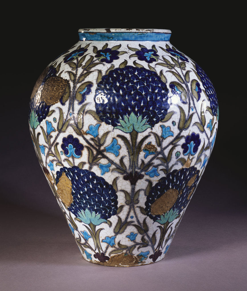 Detail of A glazed earthenware 'Persian' vase by William de Morgan