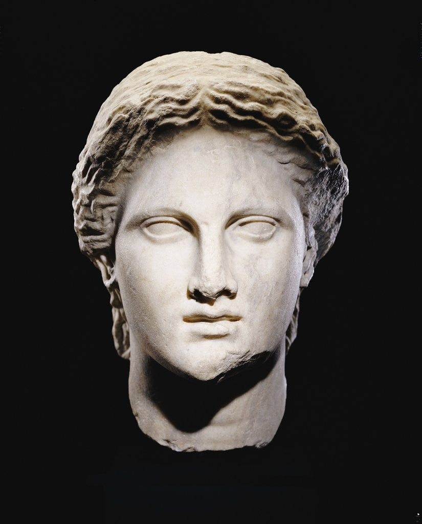Detail of A Greek marble female head by Corbis