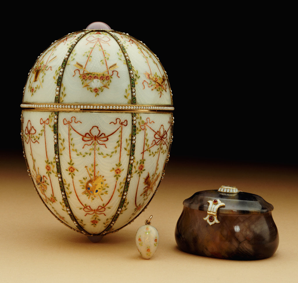 Detail of Faberge Kelch Bonbonniere egg pictured with its surprises by Corbis