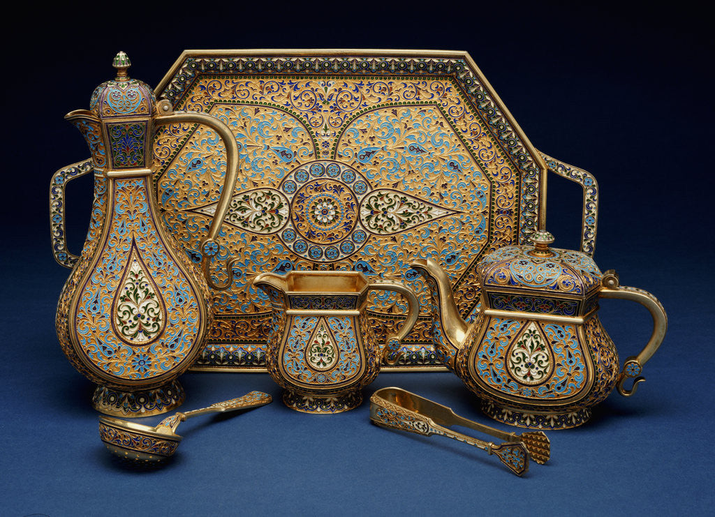 Detail of A six piece enamel silver gilt tea and coffee service by Corbis