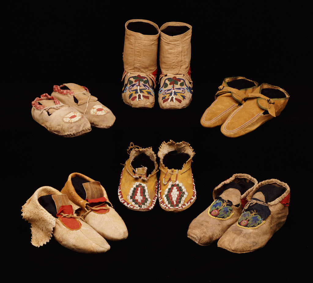 Detail of A selection of American Indian hide moccasins from various tribes by Corbis