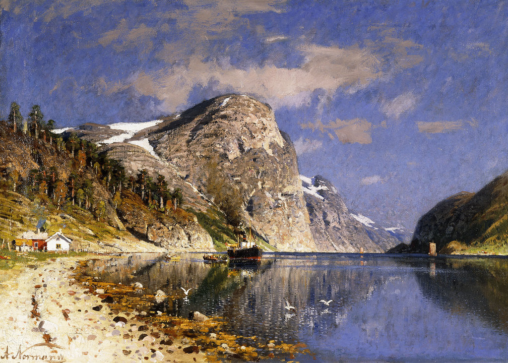 Detail of A Steamer in the Sognefjord by Adelsteen Normann