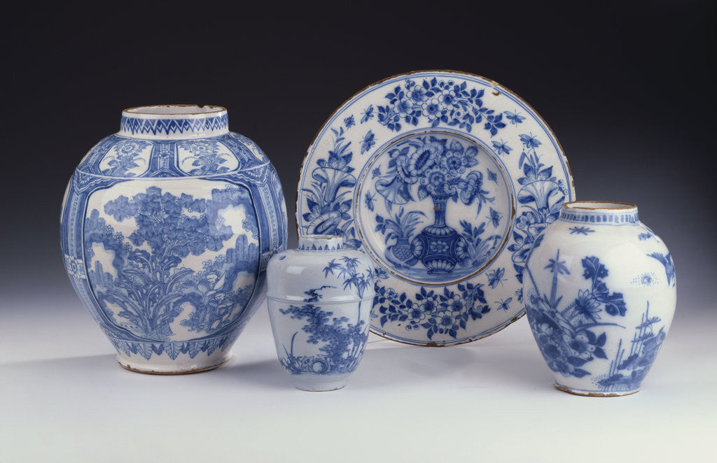 Detail of A selection of Frankfurt blue and white ceramics in a Chinese style, circa 1680-1690 by Corbis
