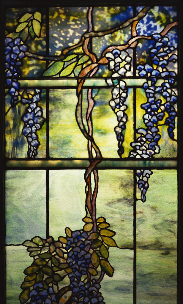 Detail of Detail of Tiffany Studios leaded glass triptych window (Wisteria) by Corbis