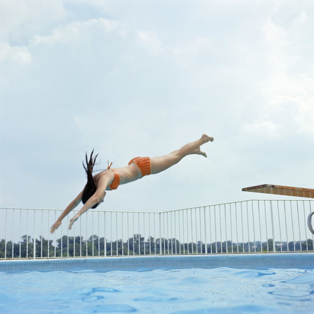 1970s Teen Girl Diving Into Swimming Pool Posters & Prints