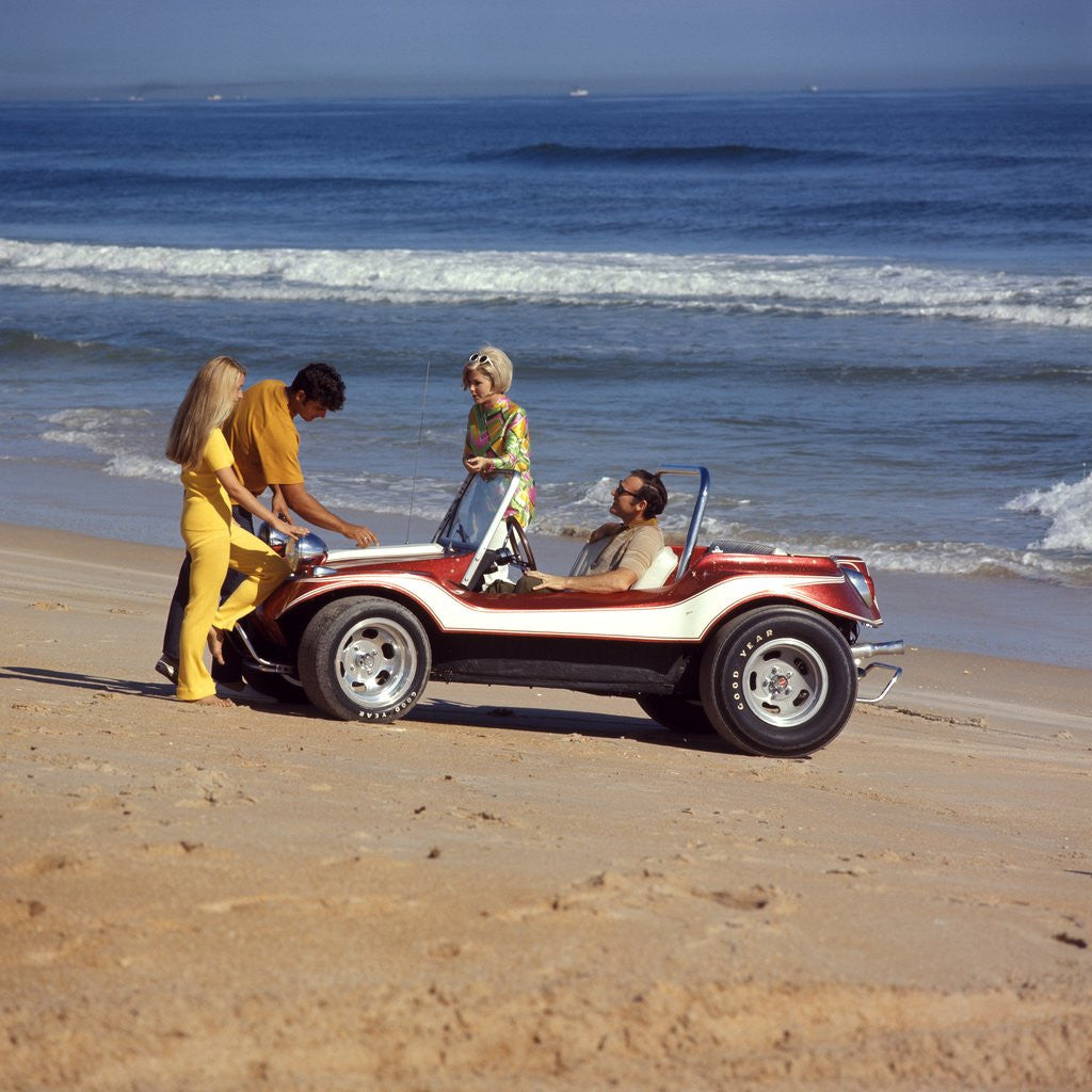 Detail of 1970 1970s 2 Couples Men Women On Beach With Red White Dune Buggy Leisure Sport Lifestyle Vehicle Fun Summer by Corbis