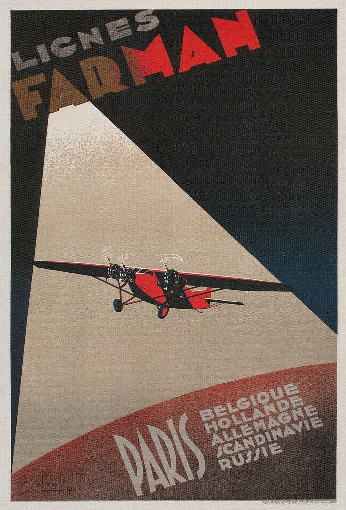 Detail of Farman Airways Poster, Vintage Plane by Corbis