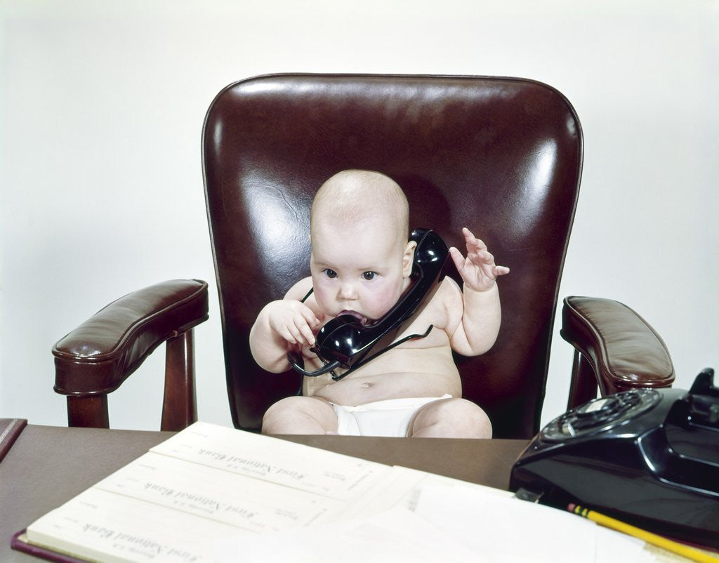 Groovy 1960S Chubby Baby Sitting In Leather Office Chair Behind Desk Holding Talking On Telephone Interior Design Ideas Apansoteloinfo