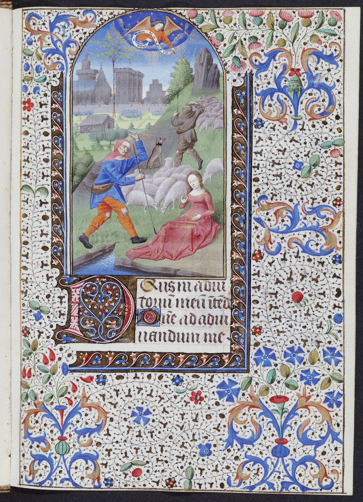 Detail of Annunciation to the Shepherds from a French book of hours by Corbis