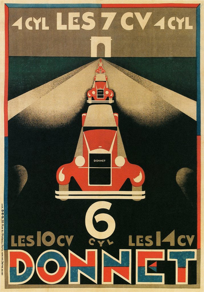 Detail of Advertisement for Donnet, French Automotive Pioneer by Corbis
