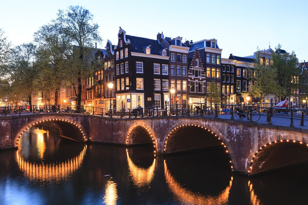 Detail of Amsterdam canals at dusk by Corbis
