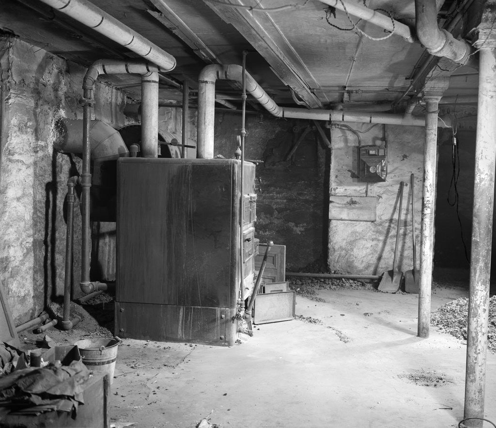 1930s 1940s Coal Burning Home Furnace In Basement Posters