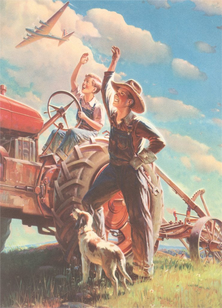 Detail of Farmer and Son Waving to Airplane by Corbis