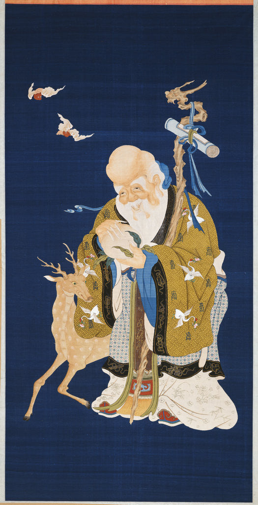 Detail of A large kesi hanging scroll depicting Shoulao holding a peach, embracing a rootwood staff with a dragon head beside a deer and two bats in flight by Corbis