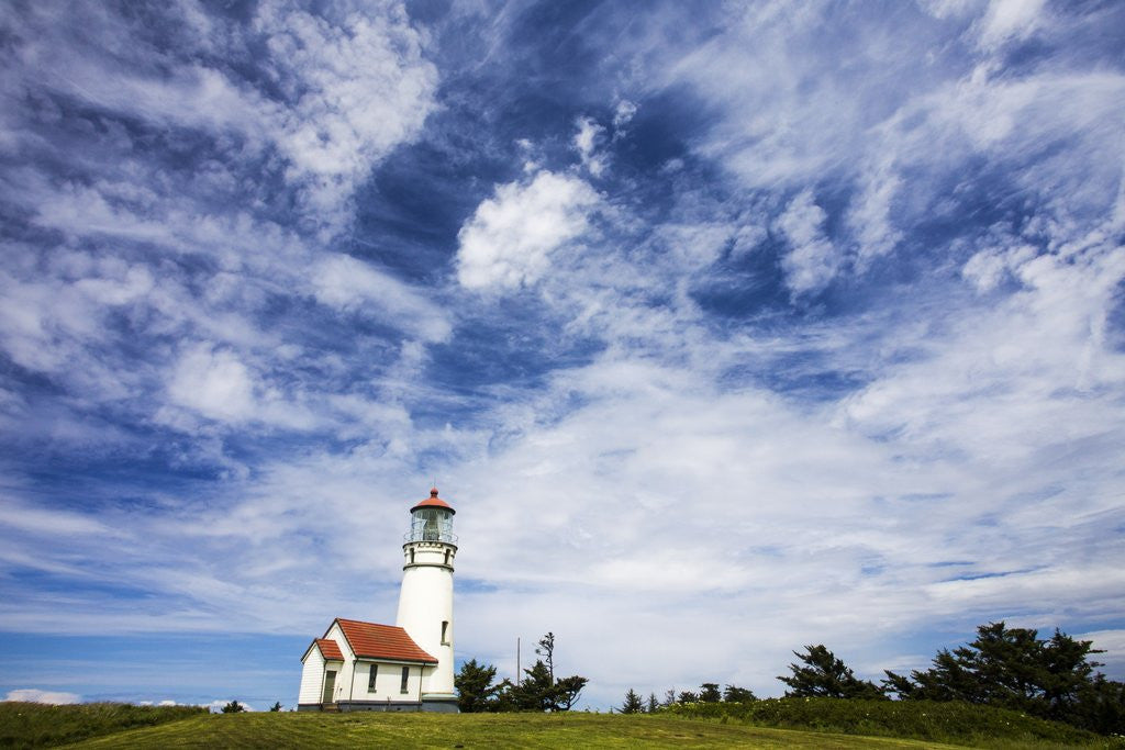 Detail of Cape Blanco Lighthouse on the Oregon Coastline with clouds by Corbis