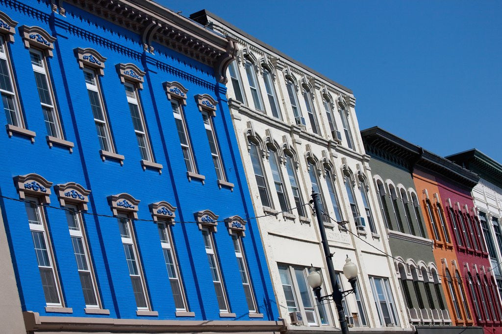Detail of Brightly colored store fronts, August, Maine by Corbis