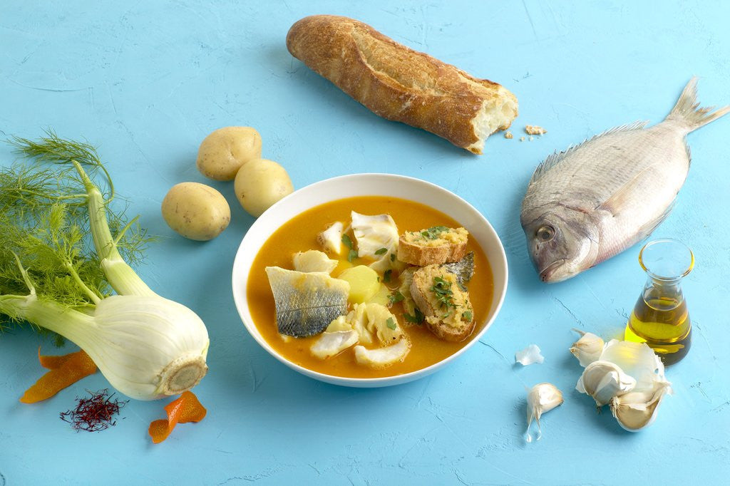 Detail of Bouillabaisse and ingredients by Corbis